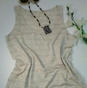 J.Crew tank top size small, White, tan and gold